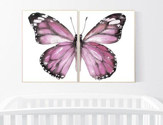 Nursery decor girl butterfly, Butterfly Nursery Art, Girl Nursery Art, Butterfly Nursery Decor for Baby Girl, Butterfly Wall Art