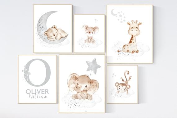 Animal nursery, gender neutral, Nursery wall art animals, gray nursery, neutral, lion, bunny, bear, elephant, giraffe, koala, animal prints