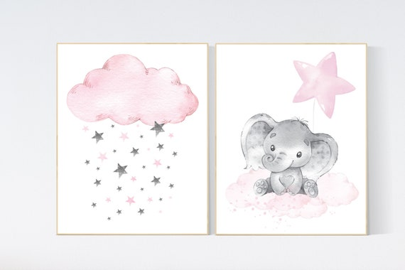 Nursery decor girl elephant, nursery wall art girl pink, moon print, baby room wall art, moon and stars, girl nursery wall decor