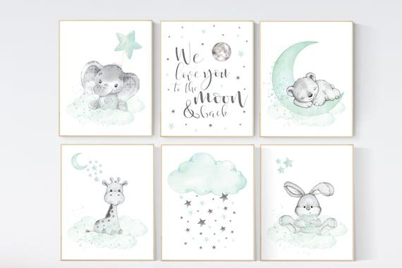 Nursery decor mint and grey, nursery wall art neutral, moon and stars, mint green, bear, giraffe, elephant, bunny, gender neutral nursery