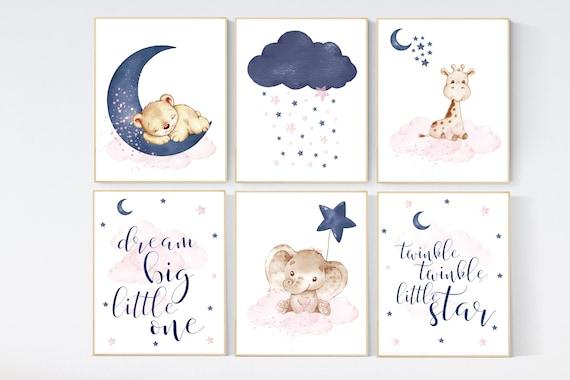 Nursery decor animals, pink and navy nursery art, navy pink, stars, moon, cloud, twin nursery, gender neutral, dream big little one