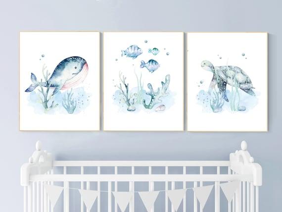 Ocean nursery decor, Nautical nursery print set, under the sea nursery, gender neutral nursery, ocean, nautical, Under the sea wall art