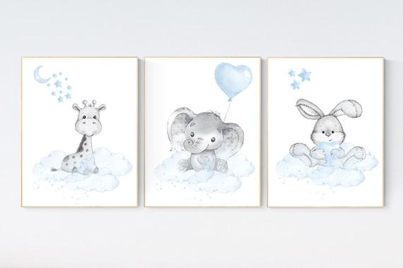 Nursery decor elephant and giraffe, animal nursery prints, blue grey nursery, blue nursery, baby room wall art, woodland animal prints