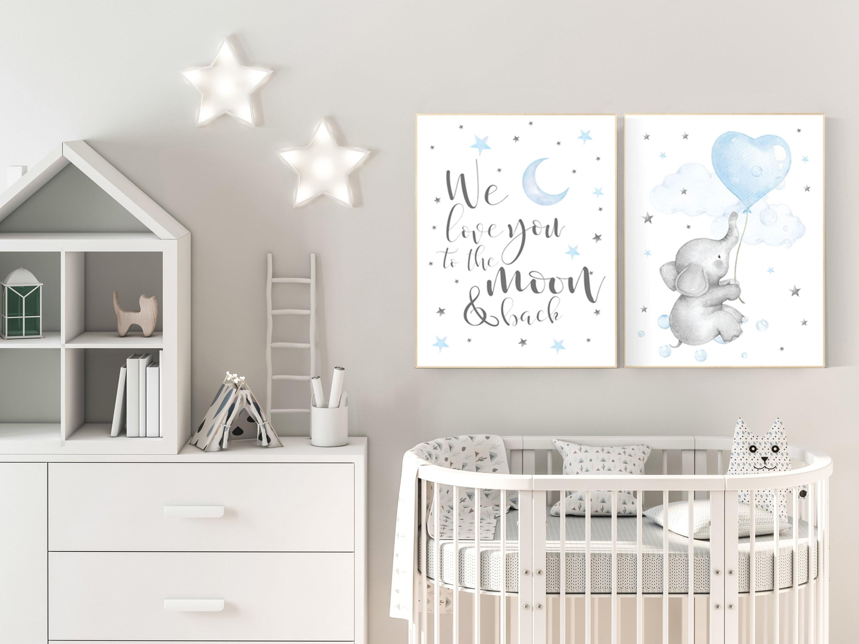 Nursery decor boy elephant, nursery wall art elephant, baby room