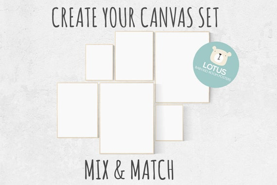 Create your own CANVAS set, Mix and match! Custom nursery decor, canvas, set of 6 canvases, nursery decor girl nursery decor boy, large