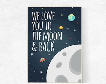 Love you to the moon and back nursery, outer space, space nursery, space nursery decor, outer space nursery wall art, space print, kid room