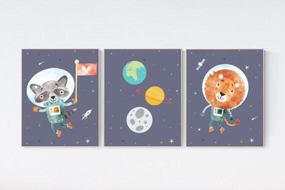 Nursery decor animals, Space nursery decor, Space themed nursery, outer space, boys room wall art, baby boy, animal space nursery wall art