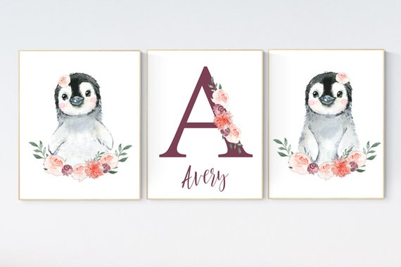 Penguin nursery, flower nursery wall art, girl nursery, baby room wall art, nursery wall art penguin, nursery decor girl, penguins