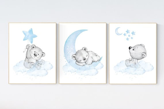 Nursery decor bear, nursery decor boy, bear nursery print, teddy bear decor, nursery wall art animals, boy nursery wall decor, blue nursery