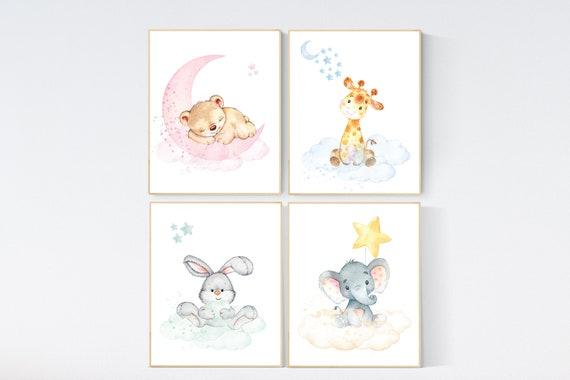Nursery decor animals, gender neutral, animal prints, bunny, elephant, giraffe, bear, nursery wall decor, animal nursery, pastel colors