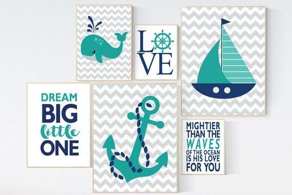 Nautical boy nursery, nursery decor boy nautical baby room, navy nursery, teal nursery, nautical nursery wall decor, navy and teal nursery