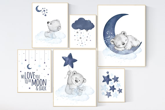 Nursery decor bear, nursery wall art boy, navy blue grey, navy nursery, cloud and stars nursery, bear nursery art, moon nursery art