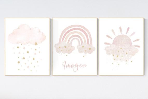 Nursery prints rainbow, blush Nursery decor girl, blush gold nursery wall art, blush pink, moon star, cloud, nursery wall art, sun nursery