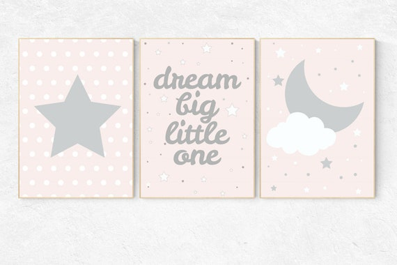 Pink gray nursery, blush pink nursery decor, dream big little star, pink nursery art, cloud nursery decor, pale pink, moon nursery