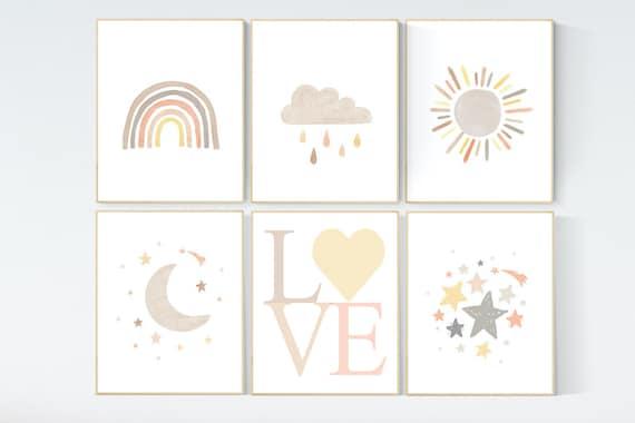 Gender neutral, nursery decor rainbow, gender neutral, you are my sunshine, stars, rainbow, cloud, nursery wall art neutral, nursery prints