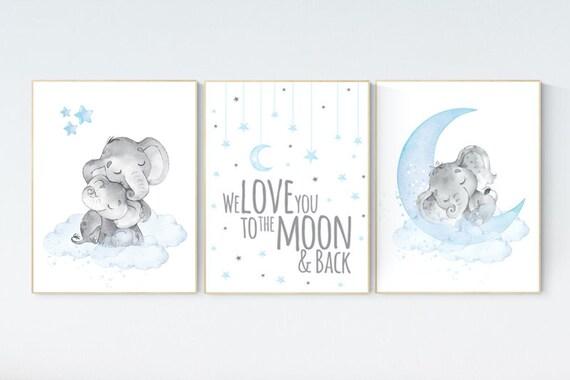 Nursery decor boy elephant, nursery wall art elephant, we love you to the moon and back, Elephant Nursery, boy nursery art, moon and stars