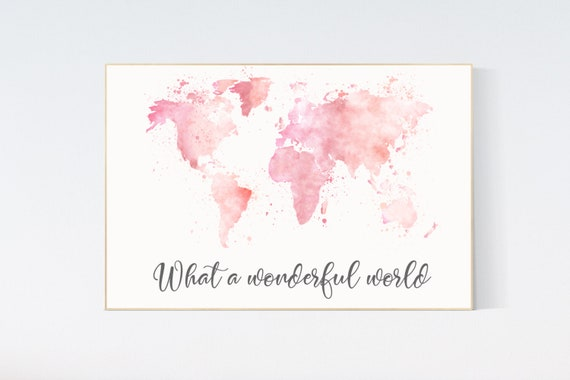 Canvas Listing: Blush pink watercolor world map, Nursery baby girl room, nursery wall art map, blush nursery, nursery decor girl map print