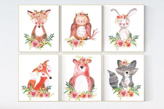 Woodland nursery decor, nursery wall art woodland, animal prints, nursery decor flower, baby girl, nursery prints animals, animal nursery