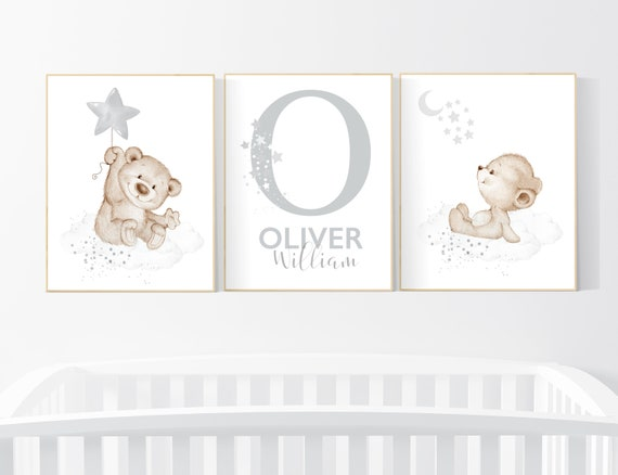 Nursery decor gender neutral, bear nursery, nursery decor boy, bear nursery print, teddy bear decor, nursery wall art animals, boy nursery