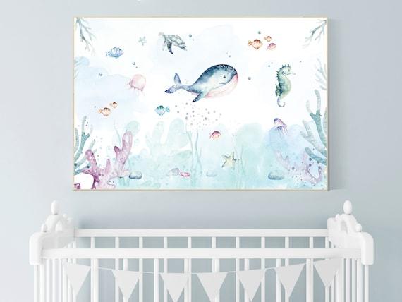 Nursery decor boy ocean, Ocean nursery decor, Under the sea nursery, sea nursery, gender neutral, ocean, nautical, nursery wall decor