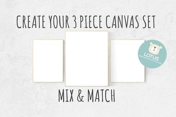 Choose Any 3 prints, Mix and match! Create your canvas set, Custom nursery decor, canvas nursery prints, set of 3 canvas prints, canvas