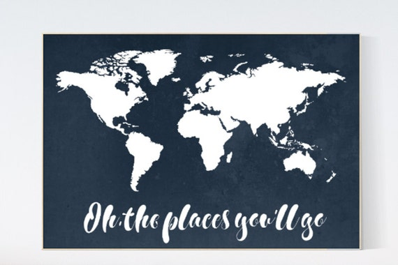 Navy World Map print, oh the places you'll go, Nursery print, Kid's Room Decor, Children's playroom, toddler navy baby wall art, world map