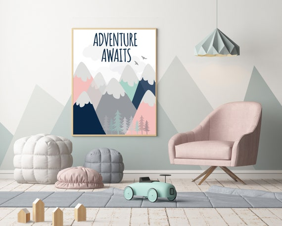Nursery decor mountains, nursery wall art woodland, adventure awaits, baby room decor mountains, nursery decor girl coral, coral navy mint