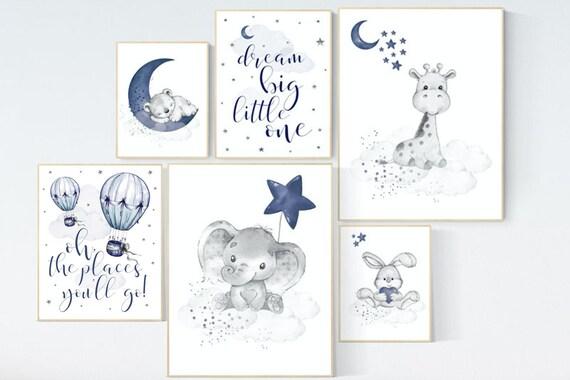 Nursery decor boy elephant, giraffe, boy nursery decor, moon and stars, navy nursery, boy nursery wall art, dream big little one