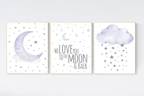 Nursery decor girl lavender and gray, Nursery decor girl purple, lilac nursery, we love you to the moon and back, purple nursery, cloud