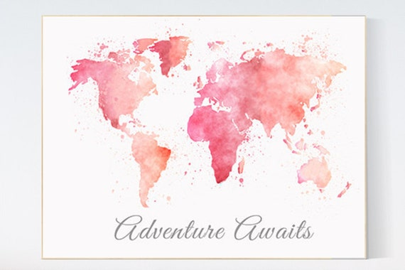 Pink world map, Watercolor World Map, Adventure awaits, Nursery Print, blush pink, girl nursery wall art, travel themed nursery
