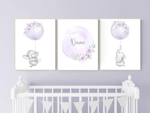 Girl nursery decor lavender, elephant nursery, name nursery girl, purple nursery decor, girl nursery decor flower, floral nursery