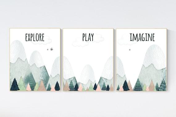 Nursery decor boy mountain, adventure nursery, adventure theme nursery, woodland, gender neutral, explore, play, imagine, mountains nursery