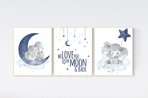 Nursery decor boy elephant, navy nursery decor, we love you to the moon and back, moon and stars, navy blue nursery art, elephant nursery