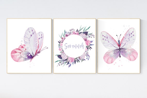 Purple pink nursery, nursery decor girl name, butterfly nursery wall art, Nursery decor girl purple and pink, lavender, lilac, girl nursery