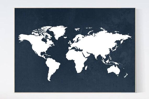Navy World Map Print Navy Nursery Decor World Map Nursery Etsy