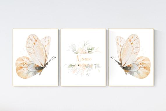 Nursery decor girl butterfly, nursery decor orange, nursery decor girl, Butterfly Nursery Art, Girl Nursery Art, Butterfly Wall Art