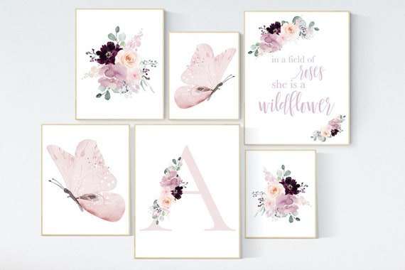 Nursery decor girl purple, mauve, Burgundy, floral nursery, flower nursery, butterfly, in a field of roses she is a wildflower, blush