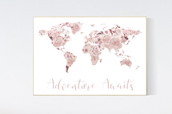 Canvas Listing: Floral World Map, Girl Nursery Decor, Travel Nursery Art, floral Nursery Print, burgundy, pink, Nursery baby girl room