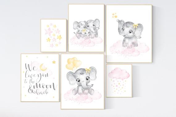 Nursery wall art girl pink and yellow, elephant nursery decor, nursery decor girl pink, moon and stars, girl nursery wall art, elephant
