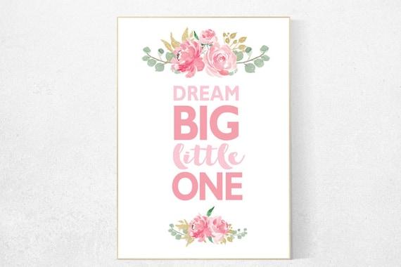 Nursery decor girl pink roses, nursery decor flower, nursery decor girl floral, flower nursery, dream big little one, pink nursery, girls