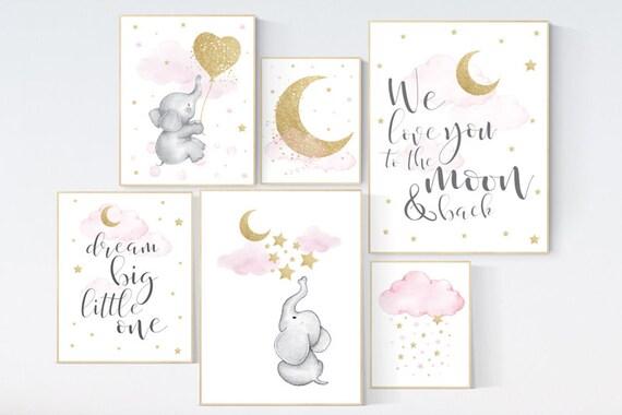 Nursery wall art girl, giraffe nursery, baby room decor girl gold and pink, we love you to the moon and back, moon and stars, elephant