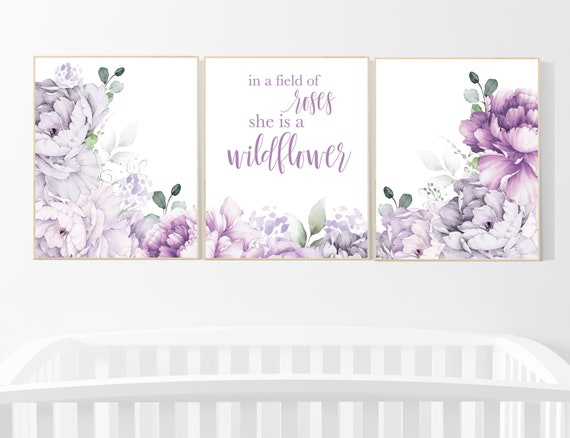 Nursery decor girl purple, floral nursery, flower nursery, peony, peonies, lavender, In a field of roses she is a wildflower, floral nursery