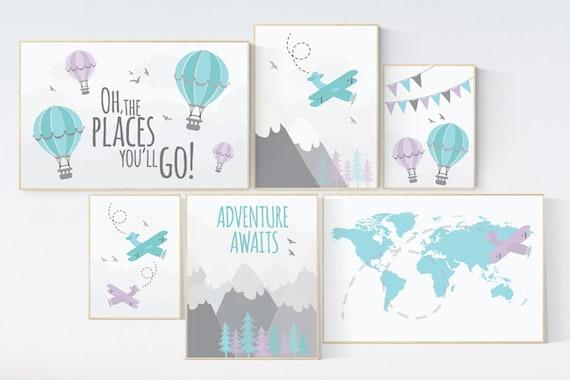 Nursery decor boy mountains adventure, mountain nursery art, adventure awaits. mountain, hot air balloon, planes, world map, teal lilac