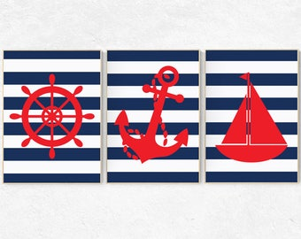 Nautical nursery decor, Nautical decor nursery, set of 3 prints, navy nursery, nursery set, nursery nautical, nursery decor, baby room decor
