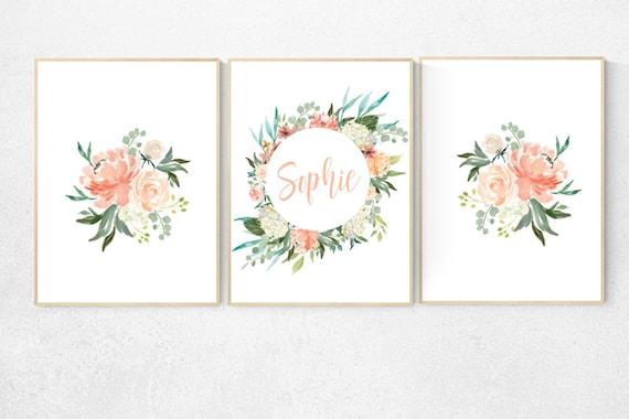 Nursery decor girl coral, nursery decor girl flower, name nursery wall girl, nursery decor girl floral, peach nursery decor flower, floral