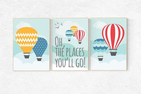 Oh the places you will go nursery, hot air balloon nursery, set of 3 prints, Baby decor nursery art, oh the places you will go wall art gift