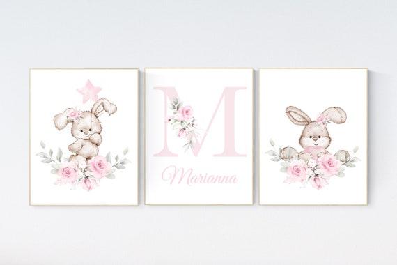 Nursery wall art bunny, pink nursery decor, Nursery decor girl flower bunny, bunny print nursery girl, rabbit nursery, rabbit print nursery