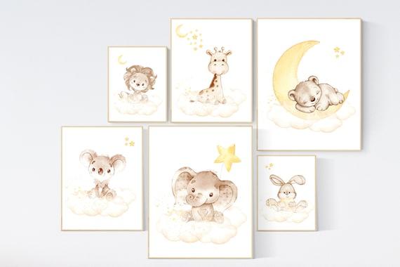 Nursery decor neutral, Yellow gray nursery, animal prints for nursery, elephant, giraffe, bear, koala, bunny, lion, gender neutral, yellow