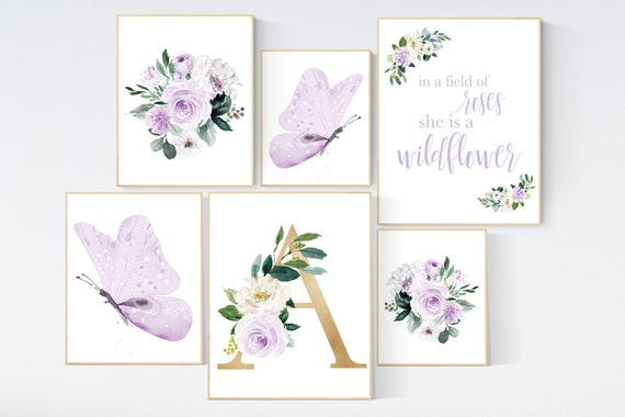 Nursery decor purple, Nursery decor girl name, purple gold, in a field of roses she is a wildflower, lavender nursery, lilac nursery prints