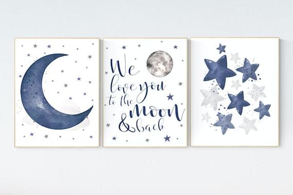 Nursery decor boy navy blue, Nursery wall art boy, navy nursery decor, moon and stars, we love you to the moon and back, nursery prints boy